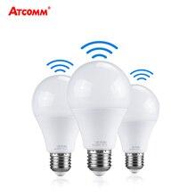 אמפולה LED 27 אור הנורה עם PIR חיישן תנועת 10W 15W 20W 220V חכם E27 רדאר מנורת 6500K A65 A70 A80