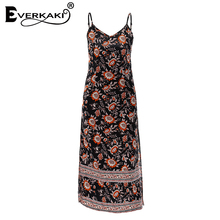 Everkaki Women Boho Floral Print Split Spaghetti Strap Dress V Neck Beach Dress Holiday Bohemian Dresses Female 2018 Summer New