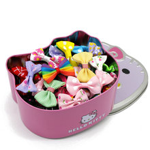 3f4956575 50pcs Ribbon Bows Clips Hairpins Barrettes Boutique Hair Clip With Hello  Kitty Box Hairgrips Girls Hair
