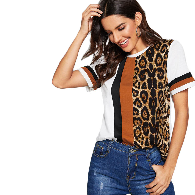 SHEIN Color Block Cut-and-Sew Leopard Panel Top Short Sleeve O-Neck Casual T Shirt Women 19 Summer Leisure Ladies Tshirt Tops 26