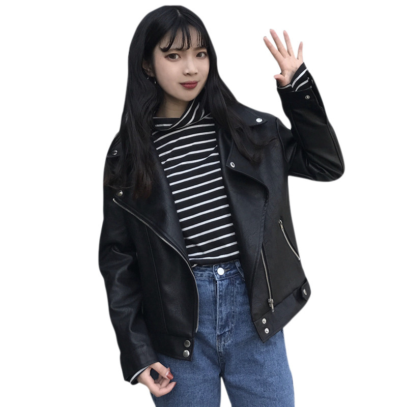 Hiawatha PU   Leather   Women 2019 Spring New Korean Loose Jackets Fashion Punk Style Long Sleeve Coat BL037