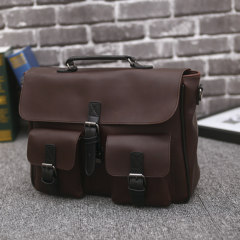 лучшая цена New Vintage Crazy Horse Leather Shoulder bag Men crossbody bag Men Messenger Bag PU Leather Bag tote Handbag Leisure Brown