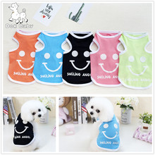 Dog Vest Sleeveless Shirt Pet Clothing Summer Cotton Sweatshirt Smiling Angel Jersey Dog Clothes For Small Medium Large Dogs