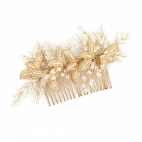Gold Leaf Bridal Headpiece With Comb Wedding Hair Accessories For Bride Combs Hair Jewelry Clip Bijoux Cheveux Novias WIGO1112