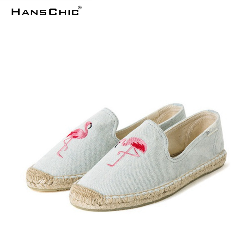 HANSCHIC 2018 New Arrival Blue Flamingo Embroider Design Comfortable Ladies Womens Casual Espadrilles Shoes TB545866446687