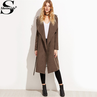 Sheinside Brown Suede Layered Wrap Trench Coat Women Fashion Long Sleeve Knee Length Plain Outerwear With Belt 2017 Work Coat