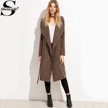 c725c5a029 Sheinside Brown Suede Layered Wrap Trench Coat Women Fashion Long Sleeve Knee  Length Plain Outerwear With Belt 2017 Work Coat