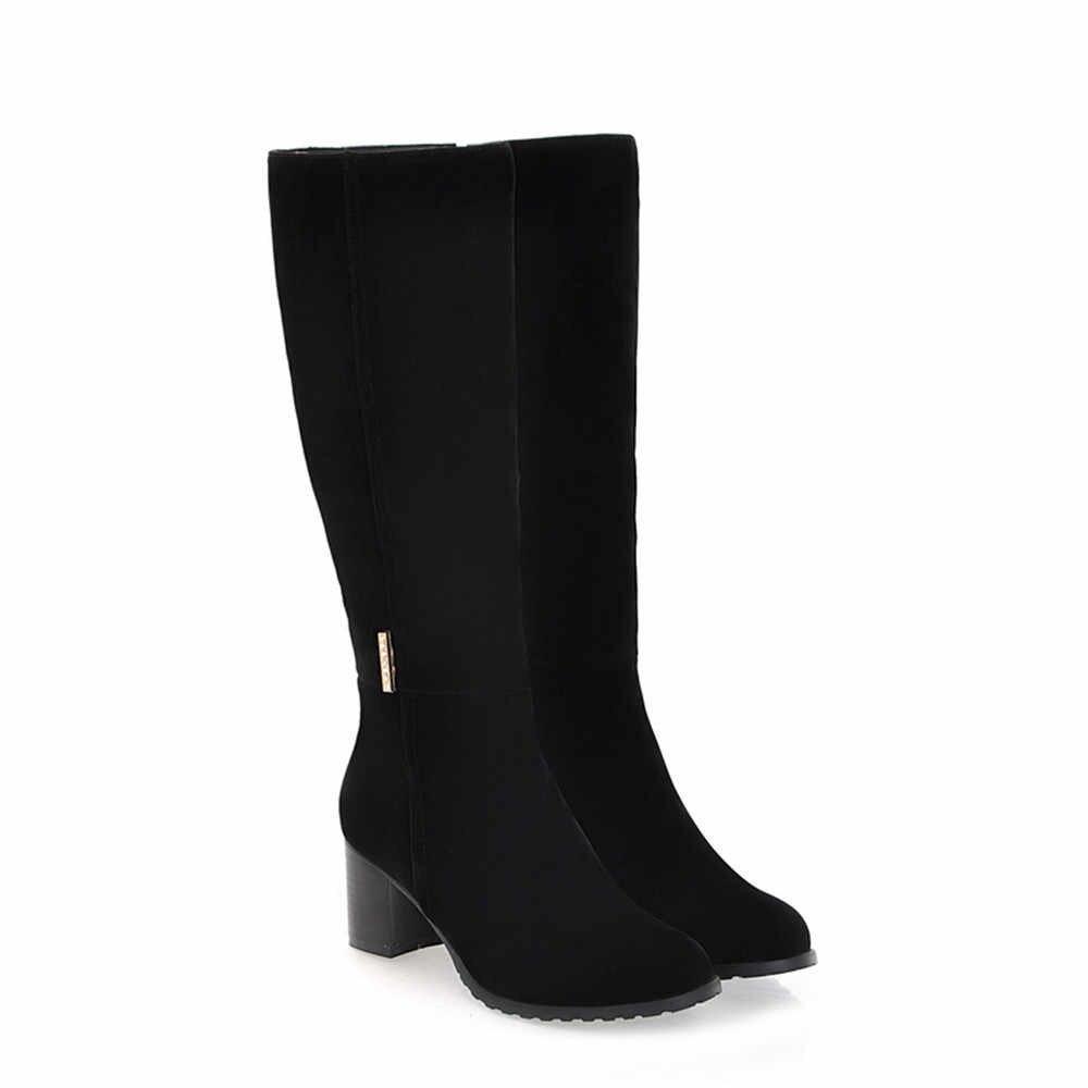 MoonMeek 2020 sıcak satış kış yeni gelmesi kadın çizmeler yuvarlak ayak fermuar akın bayan botları kare topuk siyah kahverengi diz yüksek çizmeler