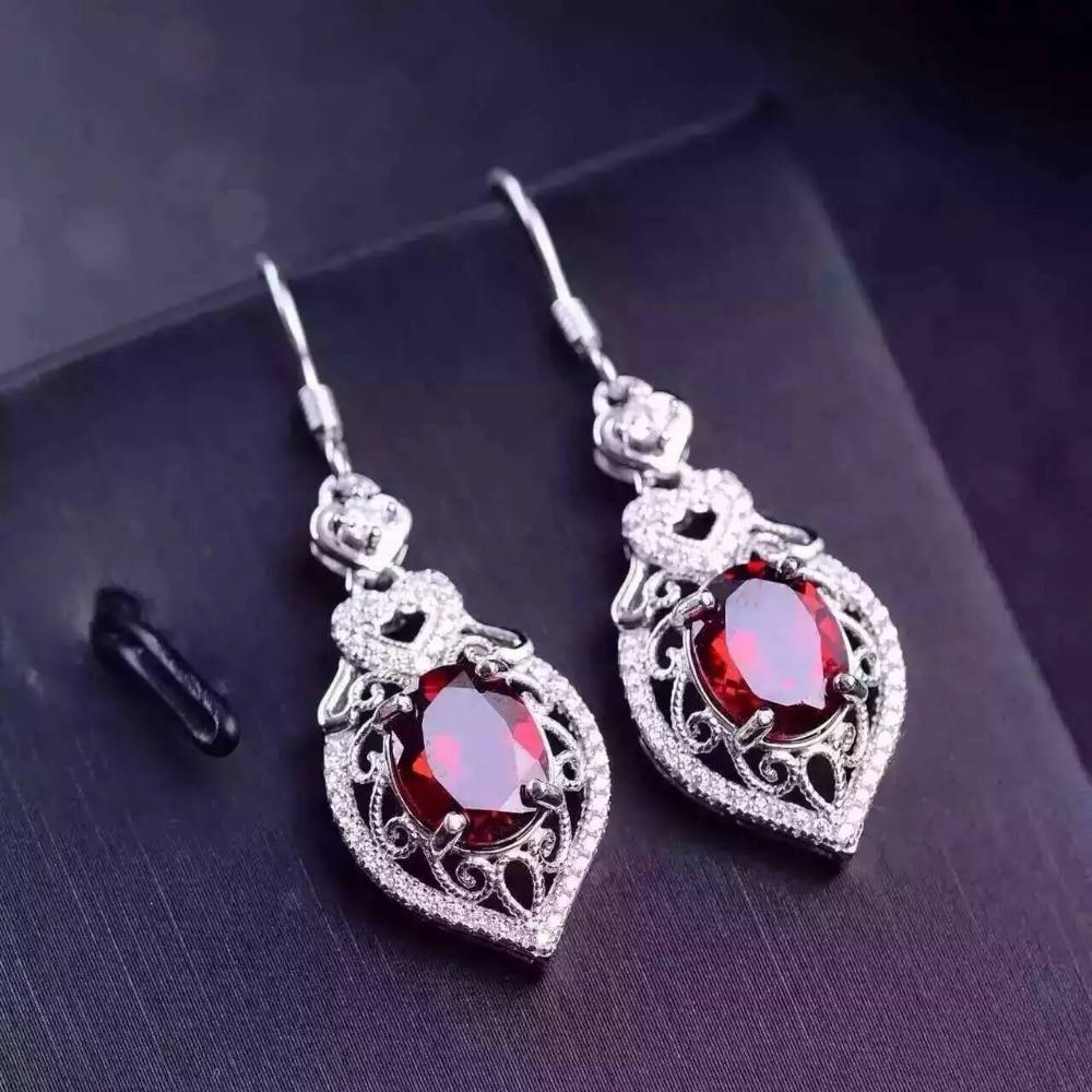 natural red garnet stone drop earrings 925 silver Natural gemstone drop earring women personality drop Earrings for anniversary yrd drop lx0468