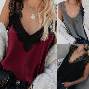 Sexy Women Summer V Neck Vest Lace Patchwork Fashion Slim Top Sleeveless Solid Color Tank Tops T-Shirt Casual heyoungirl patchwork lace sleeveless sexy crop top women summer v neck backless camis tops tees fashion streetwear casual vest