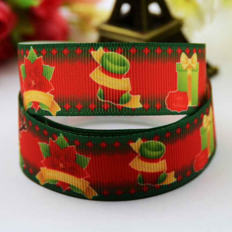 22mm Analytical 7/8 Christmas Cartoon Character Printed Grosgrain Ribbon Party Decoration Satin Ribbons X-00505 Oem 10 Yards