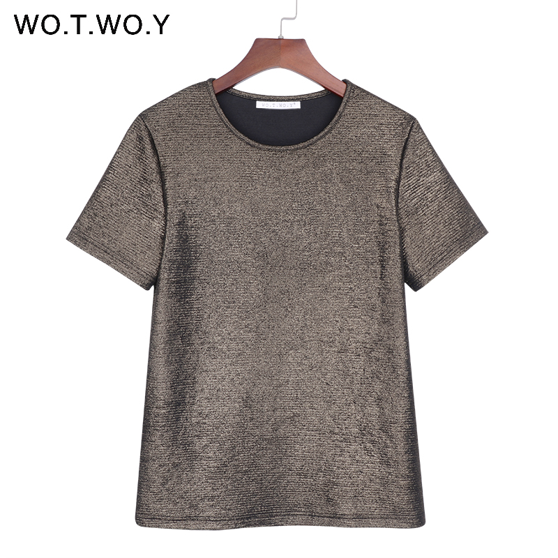 WOTWOY Summer Shiny Lurex Tops Women Basic T-Shirt Casual O-Neck Tee Shirt Woman Solid Cotton T Shirt Short Sleeve Elastic 2020