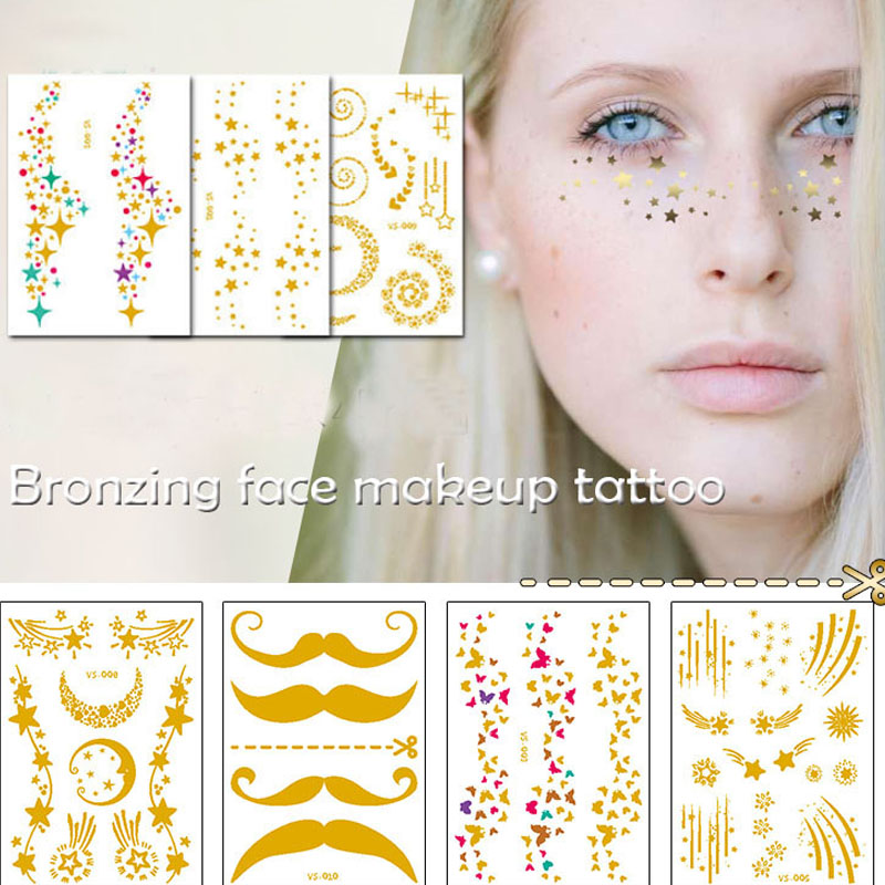 Face makeup bronzing sticker mixed size star moon Butterfly beard adhesive water transfer fake Freckles temporary tattoo RA017