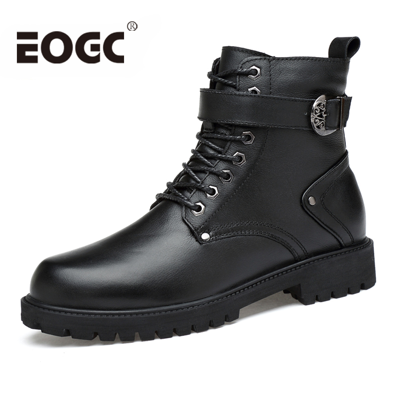 Full Grain Leather Men Winter Shoes Handmade Autumn Winter Men Boots Size 35 46 Fashion Warm