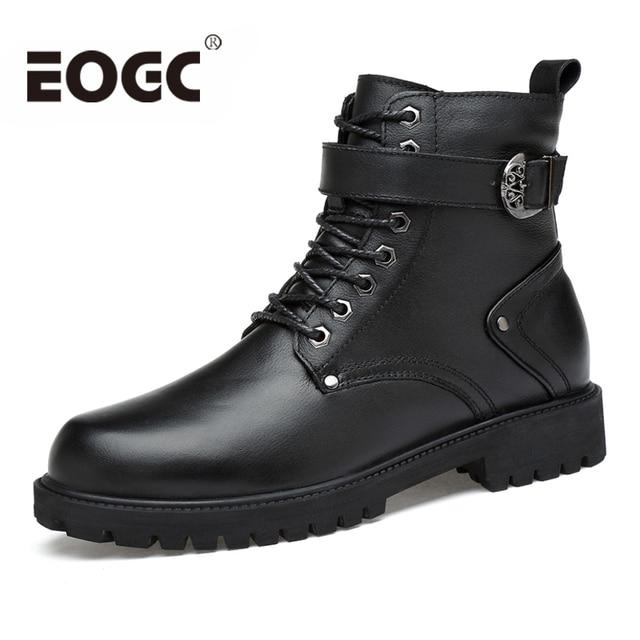 Full Grain Leather Men Winter Shoes Handmade Warm Men Autumn Winter Boots Size 35-46 Fashion Unisex Ankle Boots male Snow Boots