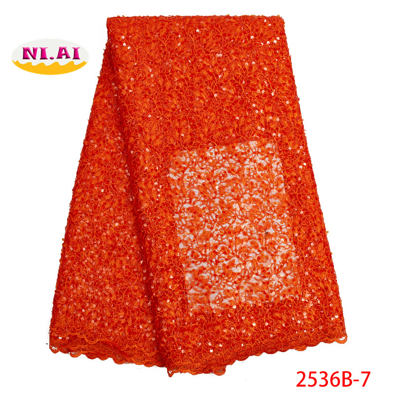 2019 New design sequins lace fabric hgigh quality african lace fabric for party dress fashion guipure