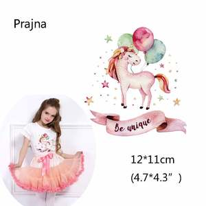 Badges For Clothes Funny Animal Ballon Unicorn Patch Iron-On Transfers Tender Stickers On Clothes Thrasher. Child T-shirt D(China)