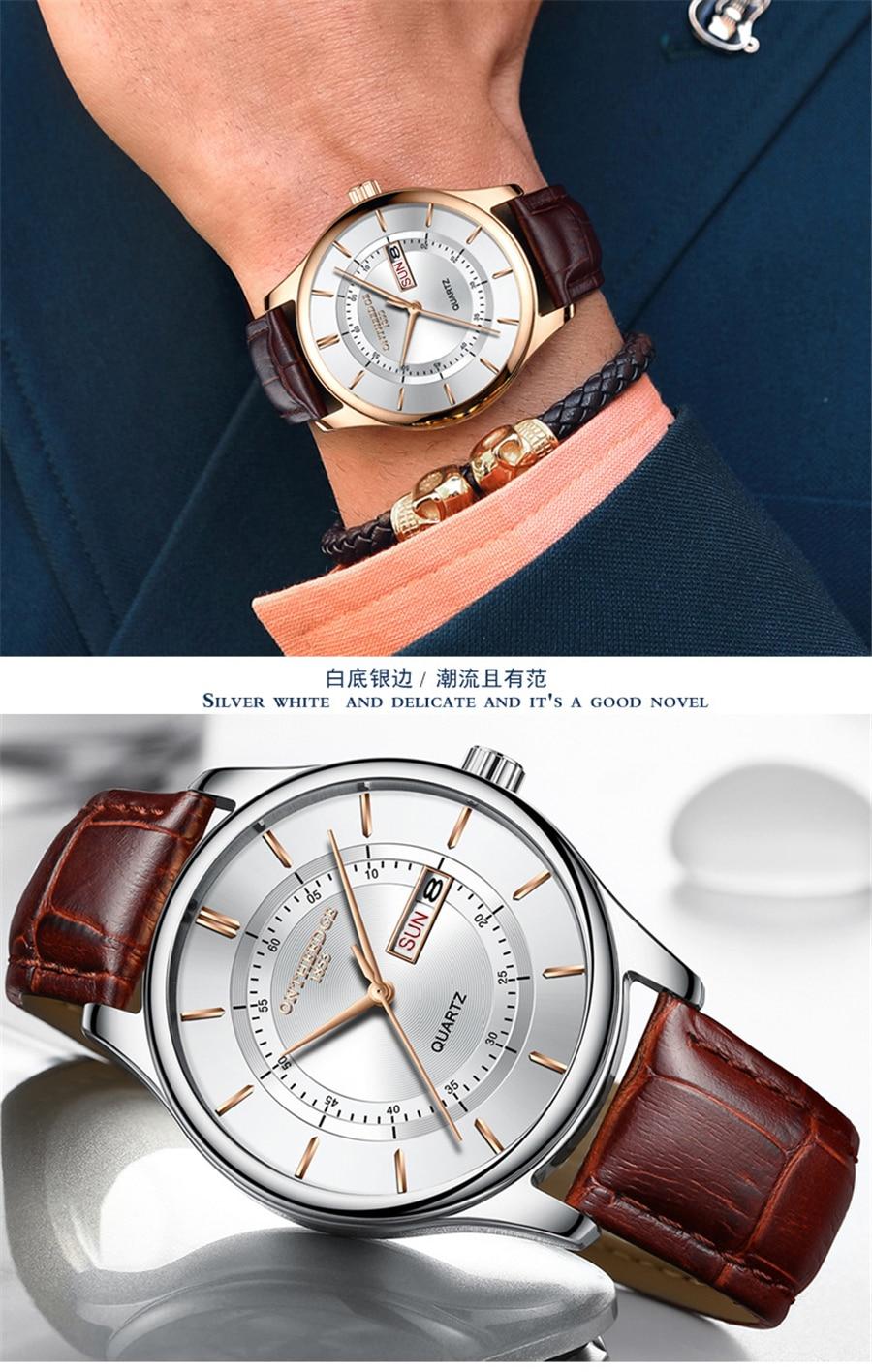 HTB1NTlfcwKTBuNkSne1q6yJoXXa7 High Quality Rose Gold Dial Watch Men Leather Waterproof 30M Watches Business Fashion Japan Quartz Movement Auto Date Male Clock