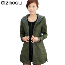 2016 New autunm and winter women trench coat slim fashion plus size 4XL medium-long windbreaker patchwork hooded outwear BN056