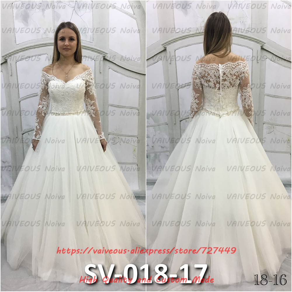 Beaded Appliques Robe de Mariee Cheap Wedding Gowns Sexy V neck Off the Shoulder Long Sleeve