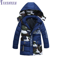 New Hot boys autumn and winter warm outwear children's hooded camouflage coat long sleeve coat
