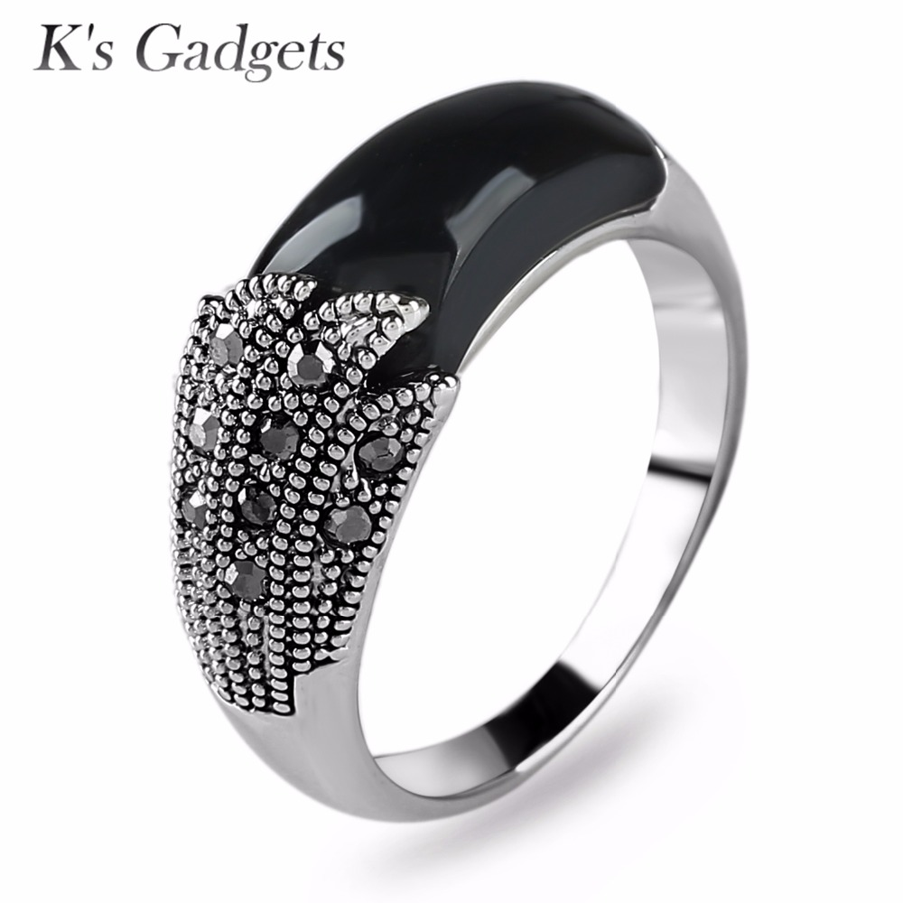 Genuine Black Red Resin Stone Silver Color Ring With Cubic Zirconia For  Women Green Opal Ring