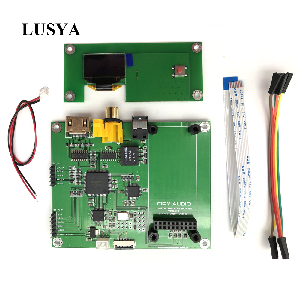 Lusya Amanero Digital XMOS Interface Audio Decoder DAC Sampling Rate Display AK4118 SPDIF I2S Switch board