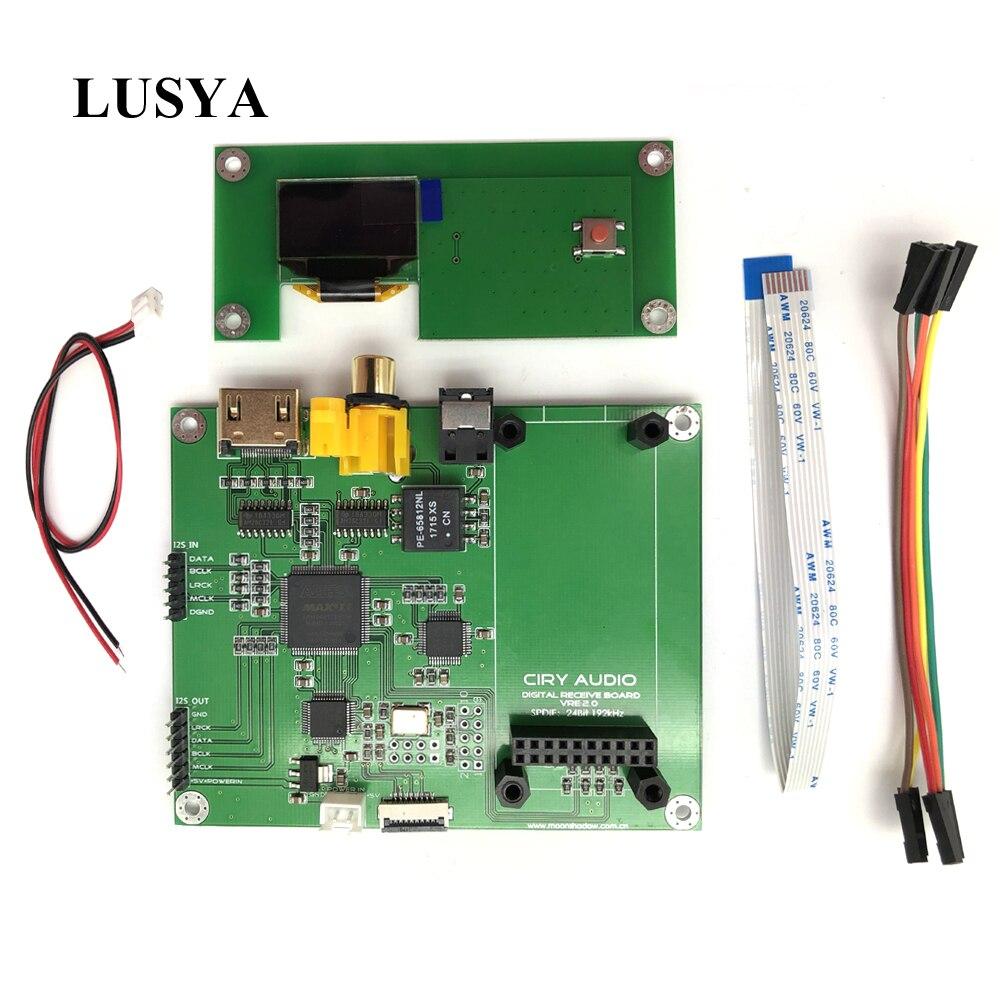 Lusya Amanero Taxa de Amostragem Display Interface XMOS DAC Decodificador de Áudio Digital SPDIF AK4118 T0138 I2S placa de Interruptor com OLED