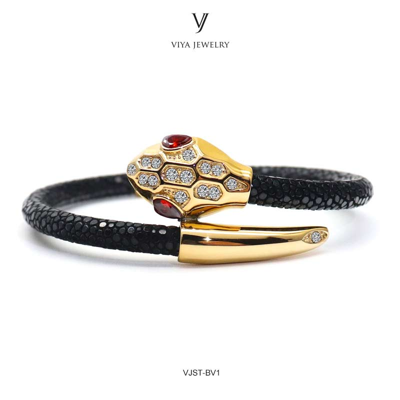 Luxury Stingray Snake Bracelet Genuine Black Stingray Leather Cords & Red Eyes Snake Bracelet Stingray Gold-Color Snake Bracelet цена