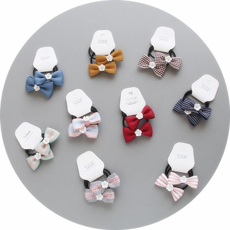 2pcs/lot Bow Tie Elastic Hair Bands Kids Stripe grid Style Bow Headbands Headwear Women Girls Fashion Hair Accessories