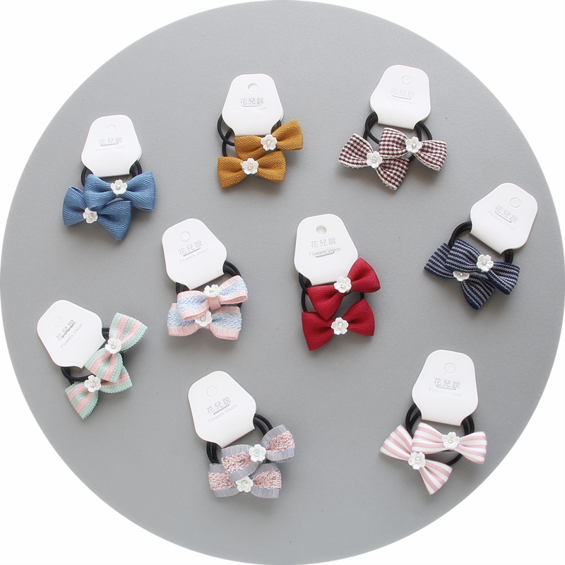 2pcs/lot Bow Tie Elastic Hair Bands Kids Stripe grid Style Bow Headbands   Headwear   Women Girls Fashion Hair Accessories