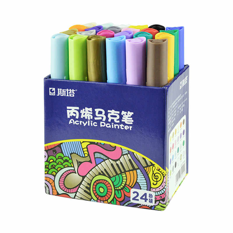 12 24color Acrylic Paint Marker Pen Watercolor Paint Waterproof Acrylic Paint For Fabric Glass Ceramic Art Painting Drawing Tool