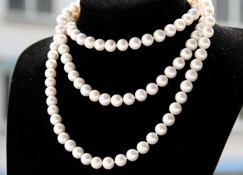 Hot sale new Style >>>Wedding women Jewelry 63 160cm 8-9mm Top AAA Natural Freshwater pearl Round White Pearl Long Necklace Hot sale new Style >>>Wedding women Jewelry 63 160cm 8-9mm Top AAA Natural Freshwater pearl Round White Pearl Long Necklace