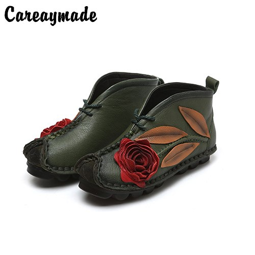 Careaymade-New Head layer cowhide pure handmade ankle half short boots ,Sen female casual Retro nation style women's Boots irst layer of cowhide handsome female ankle boots fashion boots pull style all match elegant 6 8 5