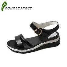 2017 летняя обувь плоские сандалии женщины ИСКУССТВЕННАЯ кожа плоские с черного и белого цветов мода сандалии удобные старые ботинки 35-40