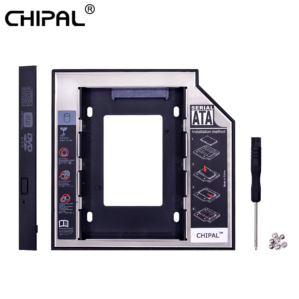 CHIPAL 2nd HDD Caddy 12.7mm Aluminum Optibay SATA 3.0 Hard Disk Drive Box Enclosure DVD Adapter 2.5 SSD 2TB For Laptop CD-ROM(China)