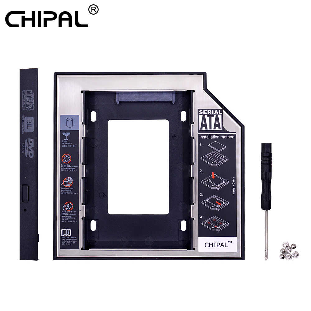 CHIPAL 2nd HDD Caddy 12,7mm de aluminio Optibay SATA 3,0 caja de la unidad de disco duro carcasa DVD adaptador 2,5 SSD 2TB para portátil CD-ROM