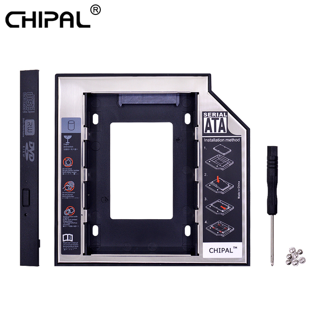 CHIPAL 2 nd HDD Caddy 12,7mm aluminio Optibay SATA 3,0 caja de disco duro caja de DVD adaptador 2,5 SSD 2 TB para ordenador portátil CD-ROM