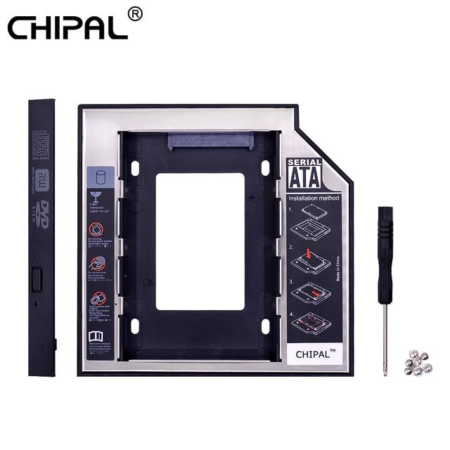 CHIPAL 2nd HDD 12.7 Nhôm Optibay SATA 3.0 Ổ Đĩa Cứng Hộp Kèm DVD Adapter 2.5 SSD 2 TB Cho Laptop CD-ROM