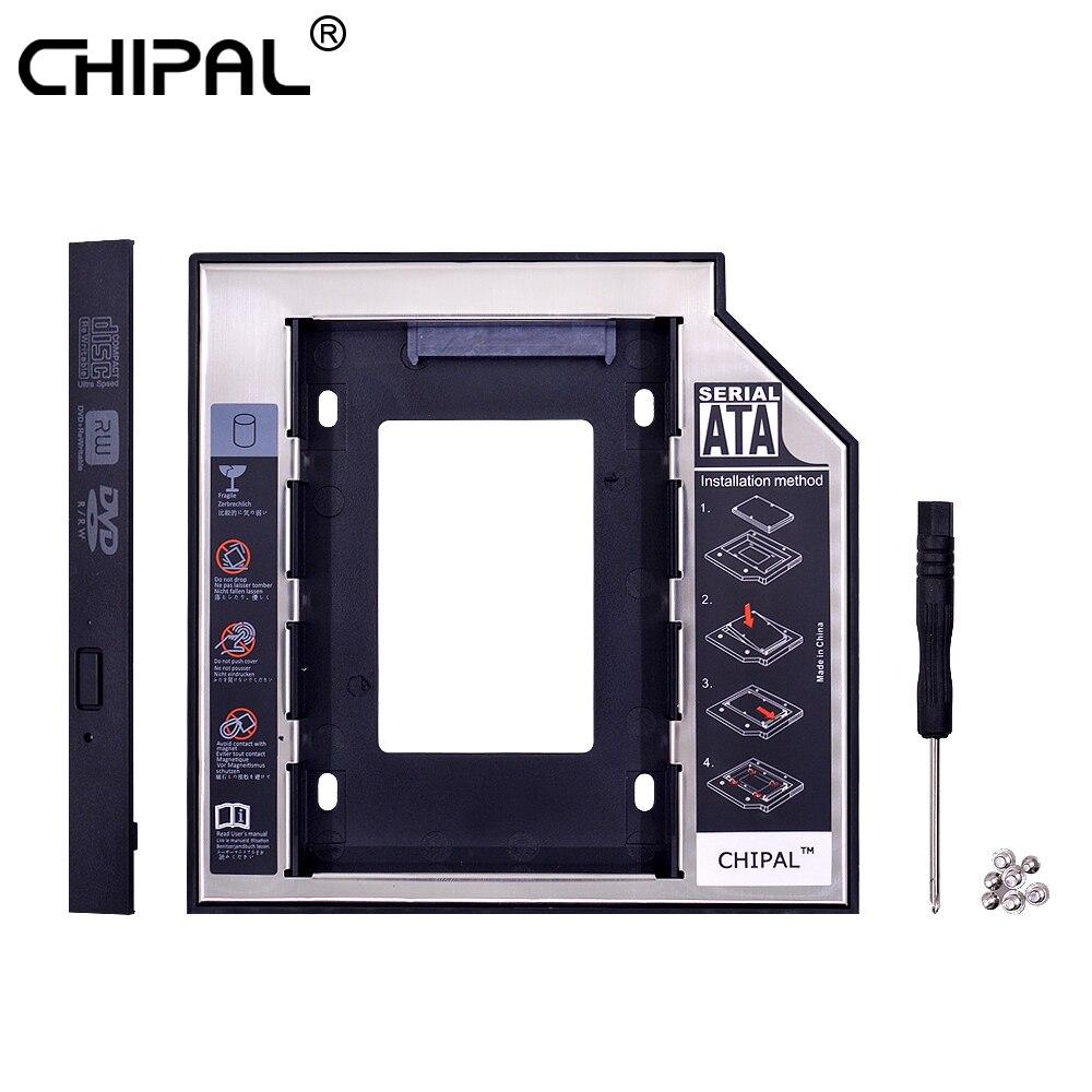 CHIPAL 2nd HDD Caddy 12.7mm Aluminum Optibay SATA 3.0 Hard Disk Drive Box Enclosure DVD Adapter 2.5 SSD 2TB For Laptop CD-ROM(China)