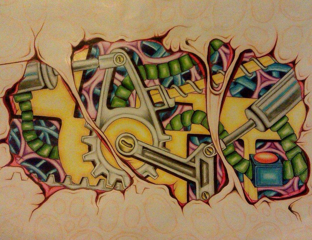 Graffiti wall tattoo - The Mechanical Creative Classic Tattoo Wall Mural Poster Decorative Diy Wall Stickers Home Posters Bar Art