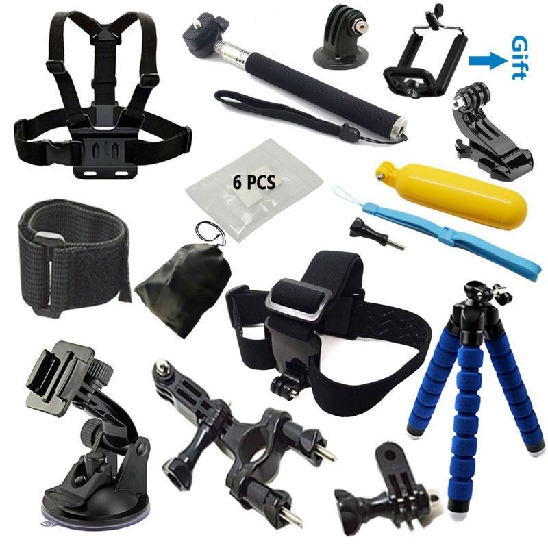 Go pro accessories Set Monopod tripod Chest Belt Head Mount Strap FOR Gopro hero 5 4 3 3+ SJCAM SJ4000 Xiaomi yi Eken H8 H9 R