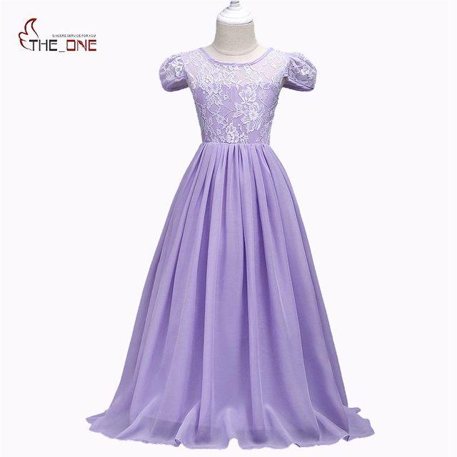 9a58949ce257 MUABABY Summer Big Girls Wedding Dress Cap Sleeve Floor Length ...