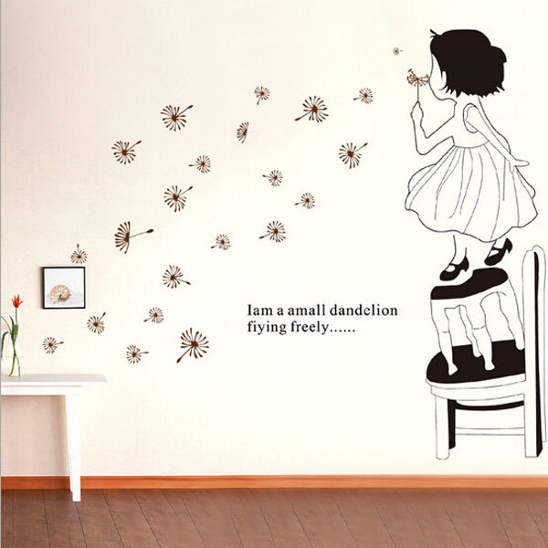Cute Girl Dandelion Mural Wall Art Stickers Removable Kids Room Wall ...