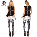 2016 women leggings hot fashion white skeleton printing free size elastic Lady leisure casual casual Leggings woman pencil pants