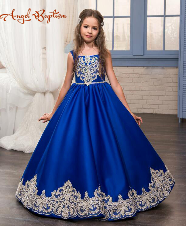 2017 Royal Blue Flower Girls Dresses Lace Appliques Dubai Arabic Little kid birthday Pageant Gowns First Communion prom dress blue pageant dresses for little girls a line spaghetti straps solid appliques crystal lace up flower girl first communion gowns