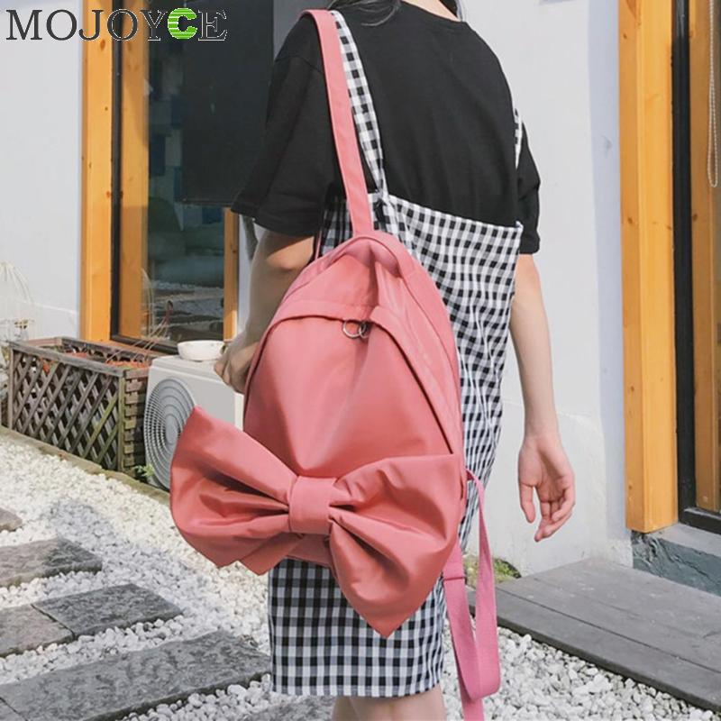 Sweet Girls Bowknot Simple Backpack Watermelon Red School Bags For Teenager Girls Solid Students Candy Color Rucksacks Gift ...