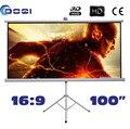 """Excelente qualidade 100 """" 16:9 tela de projeção tripé portátil HD projetor suporte de suporte de tela fosco branco fornecimento de fábrica"""