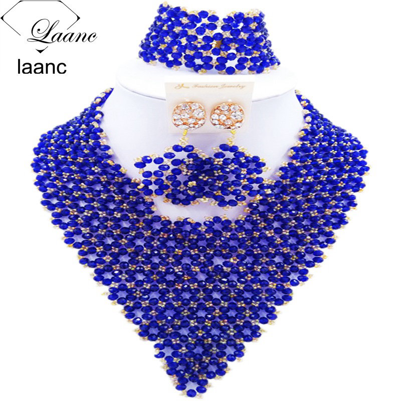 Laanc Royal Blue Crystal African Costume Jewelry Set for Women Nigerian Beads Necklace Wedding Jewellery AL428