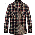 free shipping AFS JEEP brand men plaid shirts full sleeve red and green colors size M-XXXL 75